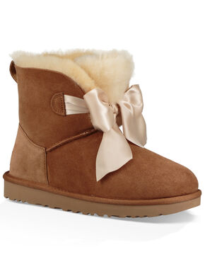 UGG Women's Chestnut Gita Bow Mini Boots - Round Toe, Brown, hi-res
