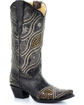 Corral Women's Black Embroidered Studded Cowgirl Boots - Snip Toe, Black, hi-res