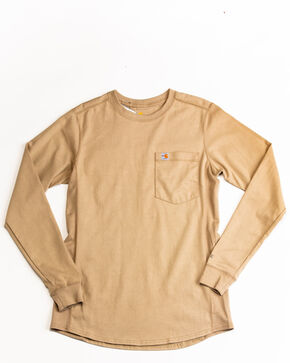 Carhartt Women's Force Crewneck Long Sleeve Shirt, Beige/khaki, hi-res