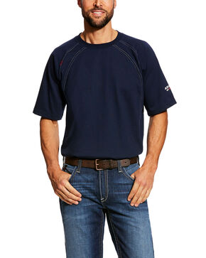 Ariat Men's Navy FR Crew Short Sleeve Work T-Shirt - Tall , Navy, hi-res