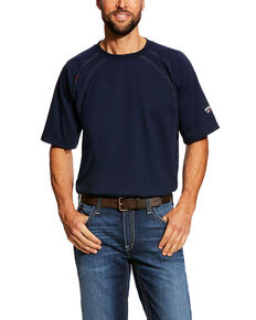 Ariat Men's Navy FR Crew Short Sleeve Work T-Shirt - Tall , Navy, hi-res