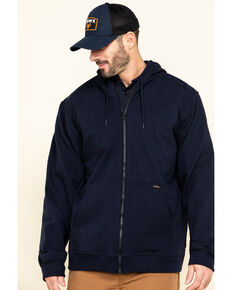 Hawx Men's FR Zip Up Fleece Work Hooded Jacket , Navy, hi-res