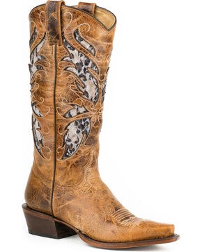 Roper Women's Feathers Snip Lace Inlay Western Boots, Brown, hi-res