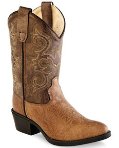 """Old West Boys' 8"""" Western Boots - Pointed Toe, Brown, hi-res"""
