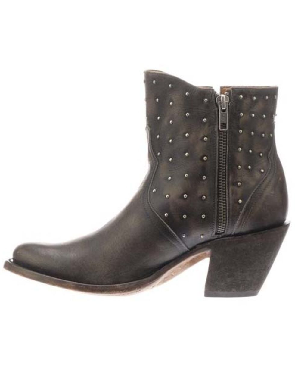 Lucchese Women's Harley Fashion Booties - Round Toe, Chocolate, hi-res
