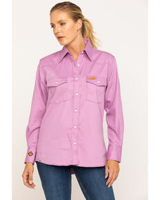Wrangler Women's Flame-Resistant Long Sleeve Shirt, Purple, hi-res