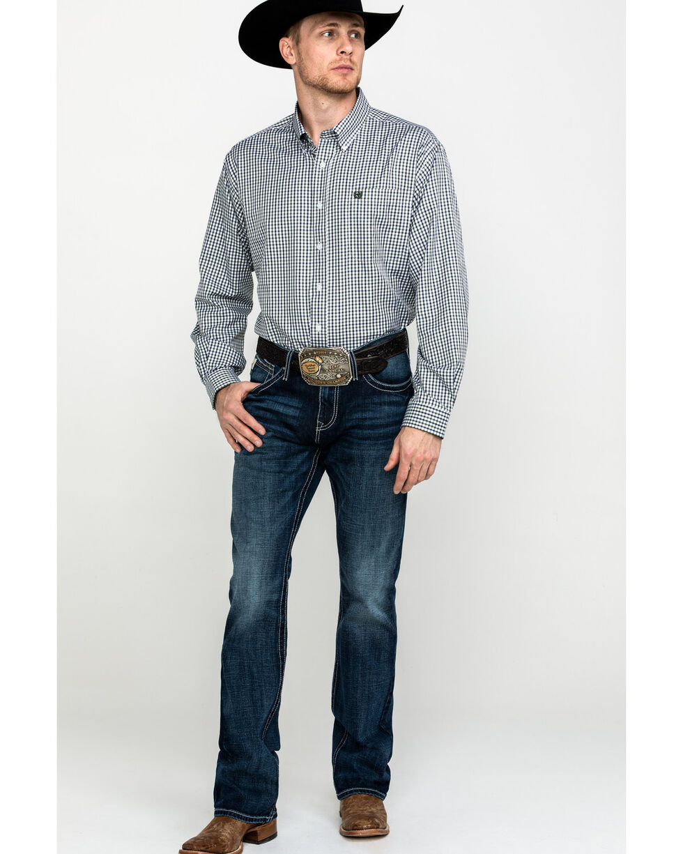 Cinch Men's Small Check Plaid Long Sleeve Western Shirt , Multi, hi-res