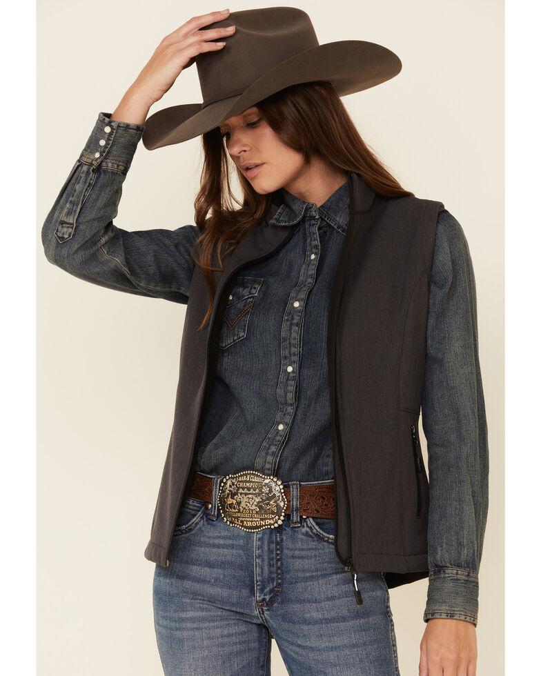 Roper Women's Grey Softshell Bonded Fleece Lined Vest, Grey, hi-res