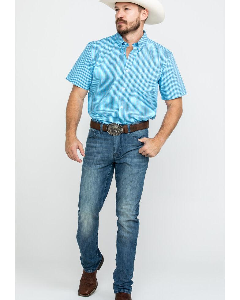 Cody James Core Men's Fiddler Small Plaid Short Sleeve Western Shirt , Royal Blue, hi-res