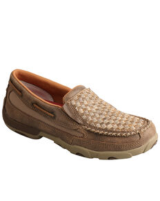 Twisted X Women's Checker Casual Slip-On Driving - Moc Toe, Brown, hi-res