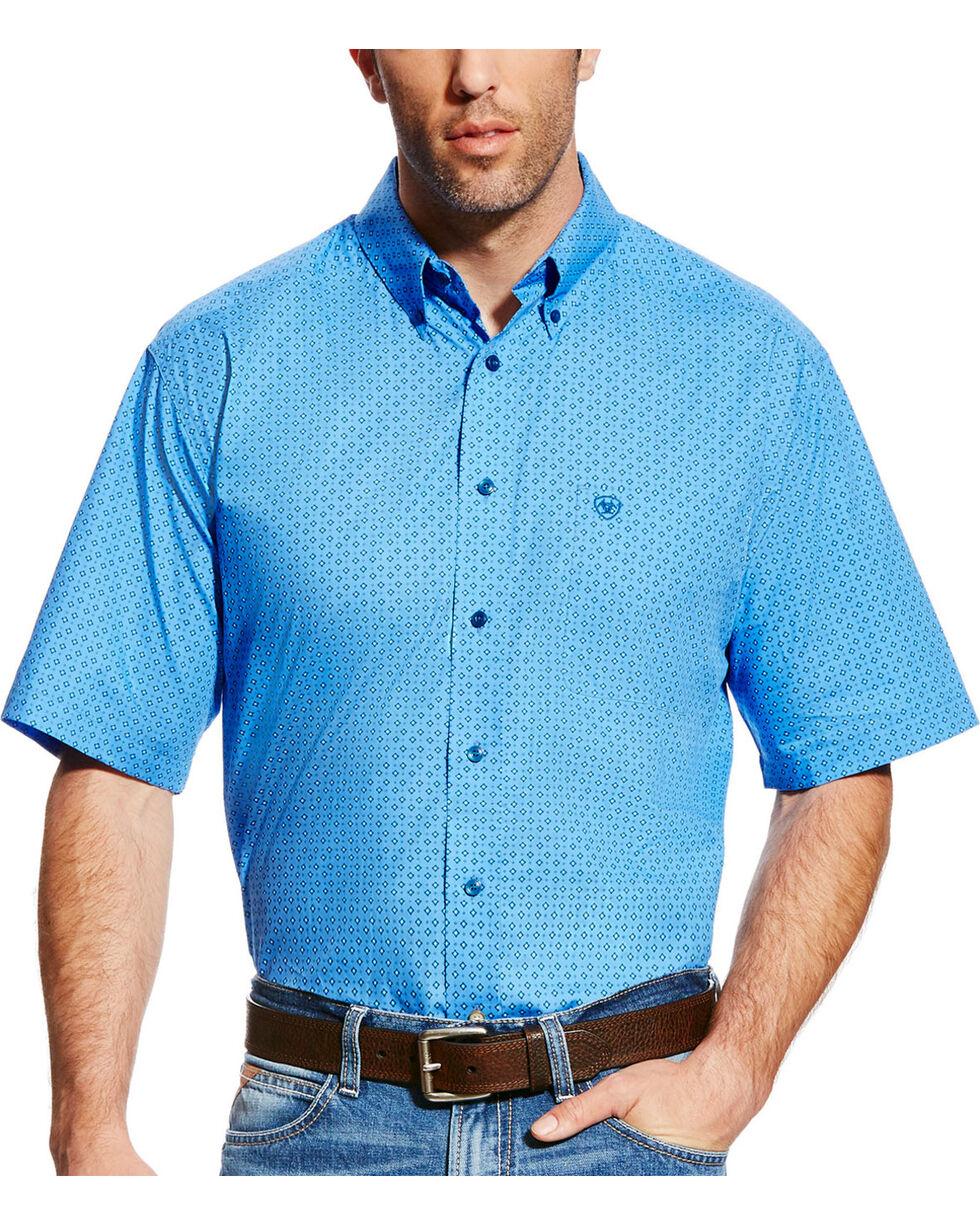 Ariat Men's Blue Dundee Short Sleeve Western Shirt , Light Blue, hi-res