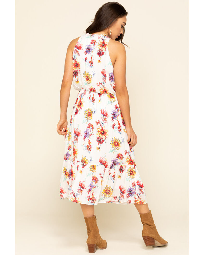 Stetson Women's White Floral Prairie Dress, White, hi-res