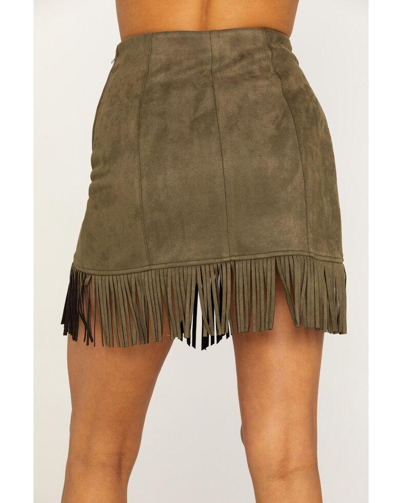 Flying Tomato Women's Olive Faux Suede Triangle Hem Fringe Mini Skirt, Olive, hi-res
