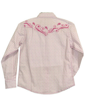 Cowgirl Hardware Toddler Girls' Snowflake Diamond Long Sleeve Western Shirt , Pink, hi-res