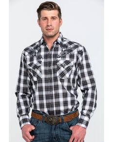 Ely Cattleman Men's Assorted Black Retro Plaid Embroidered Long Sleeve Western Shirt , Black, hi-res