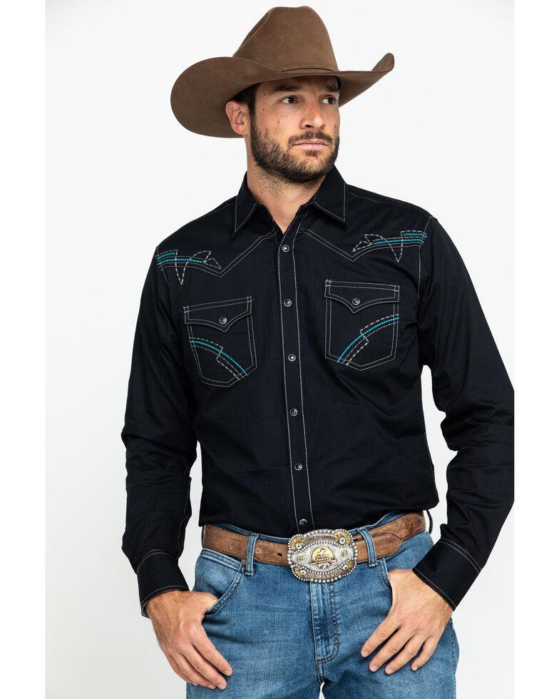 Rock 47 By Wrangler Men's Black Solid Embroidered Long Sleeve Western Shirt , Black, hi-res