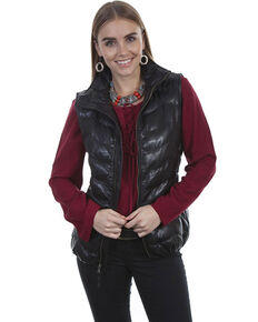 Leatherwear by Scully Women's Black Ribbed Vest , Black, hi-res