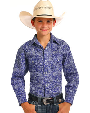 Rough Stock by Panhandle Boys' Blue Sherbrooke Print Shirt , Blue, hi-res