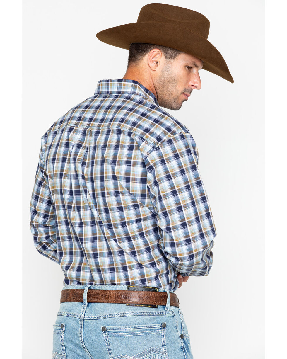 Cinch Men's Brown Plaid Western Shirt , Burgundy, hi-res