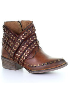 Corral Women's Cognac Zipper & Studs Fashion Booties - Round Toe, Cognac, hi-res