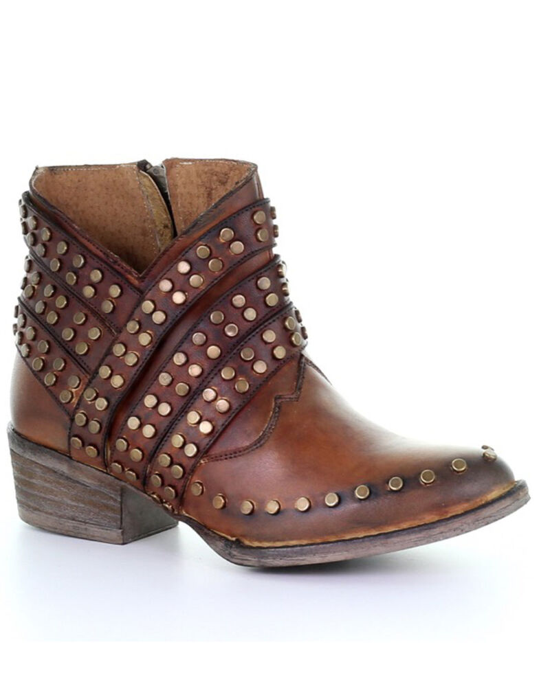 Circle G Women's Cognac Zipper & Studs Fashion Booties - Round Toe, Cognac, hi-res