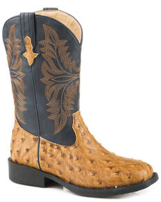 Roper Youth Boys' Cowboy Cool Faux Ostrich Cowboy Boots - Square Toe, Tan, hi-res