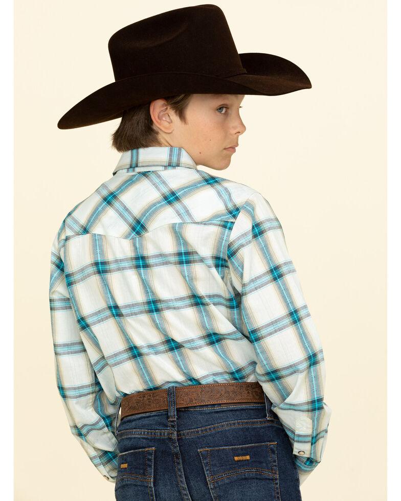 Cody James Boys' Duck Spinner Plaid Long Sleeve Western Shirt , Turquoise, hi-res
