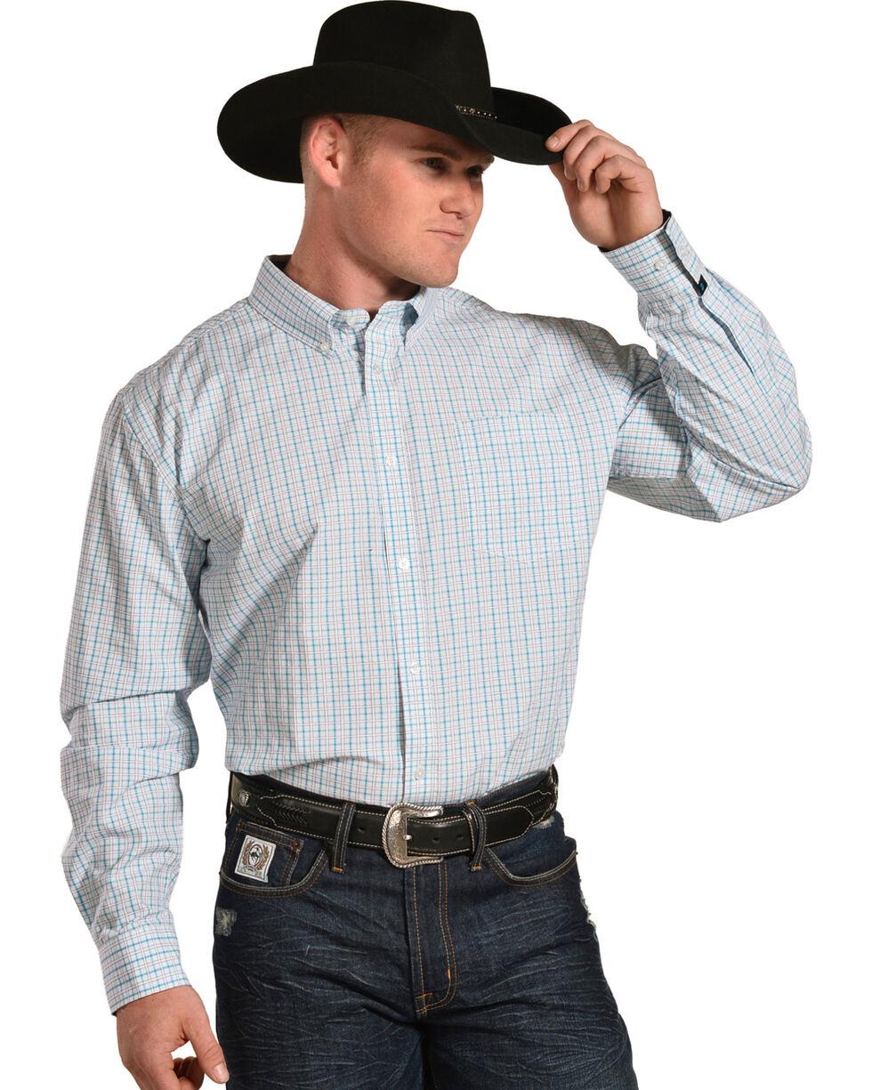 Cody James Men's Hawk Plaid Long Sleeve Button Down Shirt, White, hi-res