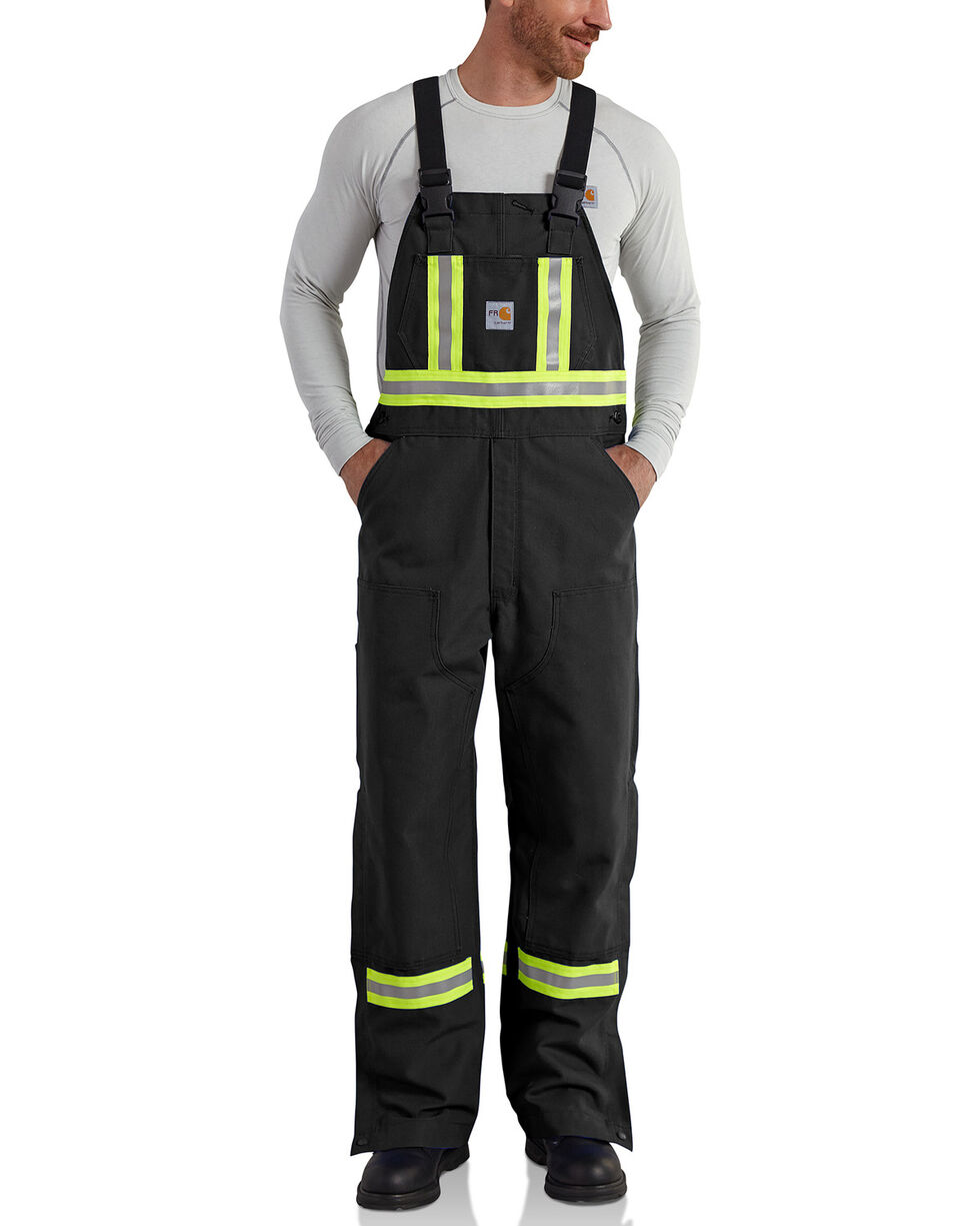Carhartt Men's Flame Resistant High-Visibility Overalls - Big and Tall, Black, hi-res
