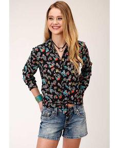 Five Star Women's Cowgirl Print Long Sleeve Western Shirt, Black, hi-res