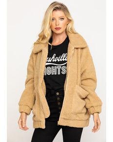 Show Me Your Mumu Women's Cordelia Butterscotch Teddy Fleece Jacket, Tan, hi-res