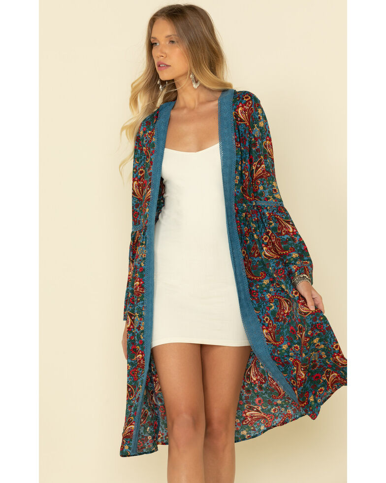Wrangler Retro Women's Blue Paisley Duster, Blue, hi-res