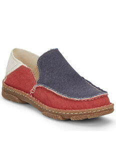 Tony Lama Men's Red, White, & Blue Slip-On Shoes - Moc Toe, Multi, hi-res