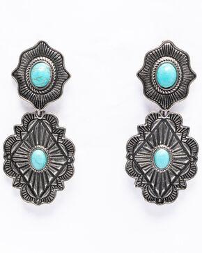 Shyanne Women's Isla Jane Concho Drop Earrings, Silver, hi-res