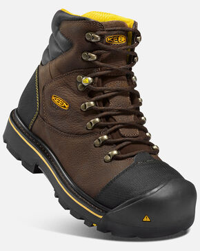 "Keen Men's Milwaukee 6"" Waterproof Work Boots - Steel Toe, Black, hi-res"