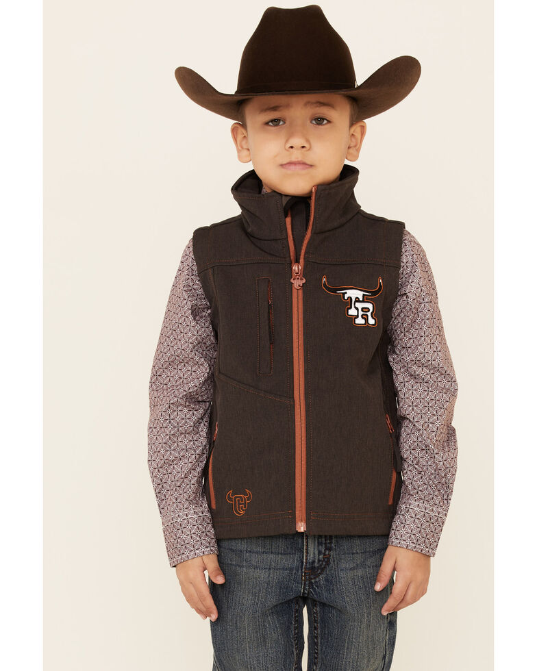 Cowboy Hardware Boys' Team Roping Ranch Zip-Front Softshell Vest , Brown, hi-res