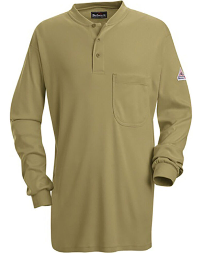 Bulwark Men's Khaki Flame Resistant Tagless Henley Long Sleeve Work Shirt , Beige/khaki, hi-res
