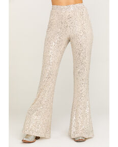By Together Women's Gold & Silver Sequin Pants, Gold, hi-res