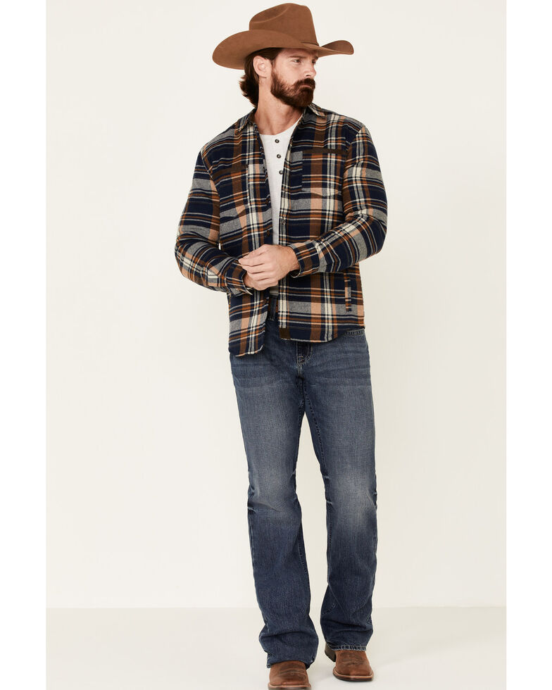 Dakota Grizzly Men's Ink Hogan Plaid Long Sleeve Western Flannel Shirt , Navy, hi-res