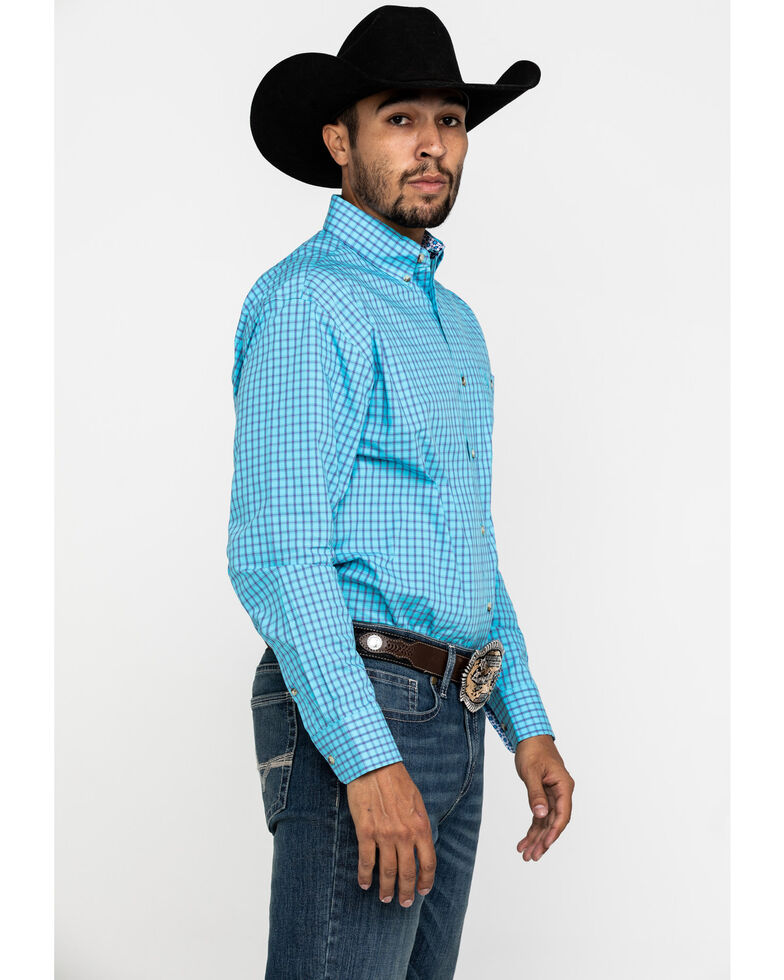 George Strait By Wrangler Men's Turquoise Small Plaid Long Sleeve Western Shirt , Turquoise, hi-res