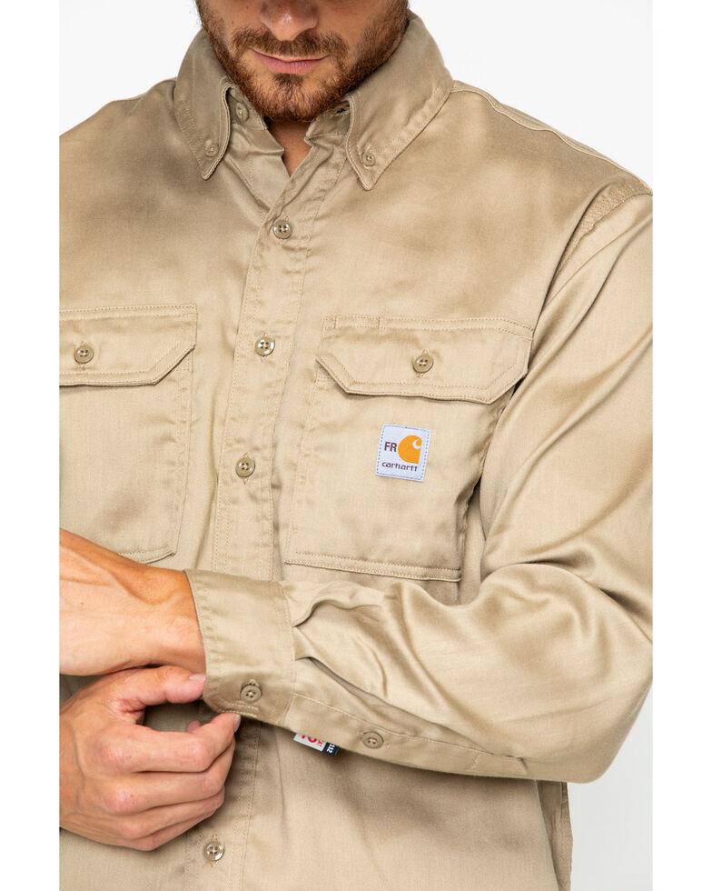 Carhartt Men's Flame Resistant Solid Twill Long Sleeve Work Shirt, Khaki, hi-res