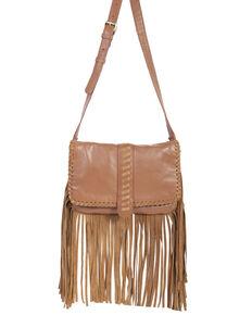 Scully Women's Crossbody Fringe Leather Handbag, Tan, hi-res