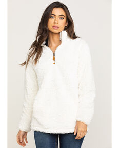 Katydid Women's Cream Sherpa Zip Pullover, Cream, hi-res