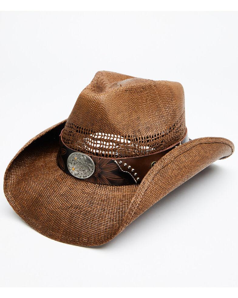 Shyanne Women's Brown Shane Raffia Straw Western Hat , Brown, hi-res