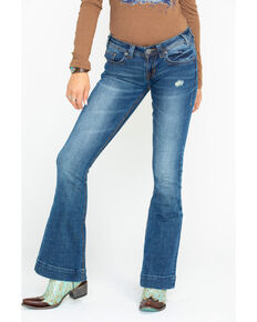 Rock & Roll Cowgirl Women's Basic Back Pocket Trousers, Blue, hi-res