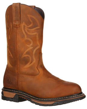 Rocky Women's Original Ride Waterproof Western Work Boots - Round Toe, Brown, hi-res