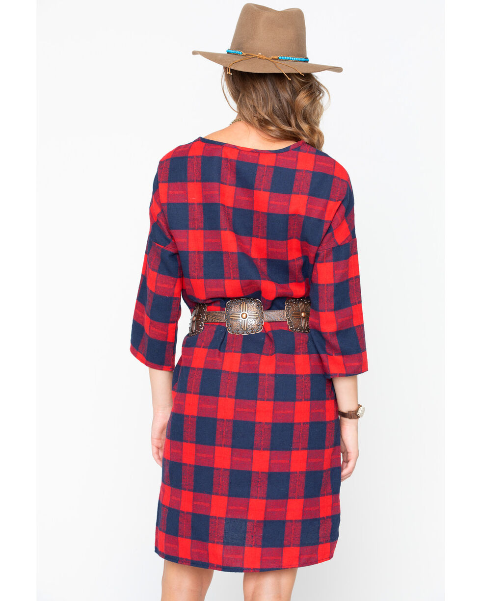 CES FEMME Women's Red Preppy Chic Plaid Dress , Red, hi-res