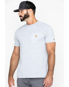 Carhartt Men's Grey Force Cotton Delmont Short Sleeve Work T-Shirt - Big , Heather Grey, hi-res