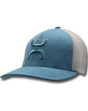 HOOey Men's Coach Flexfit Mesh Trucker Cap, Light Blue, hi-res