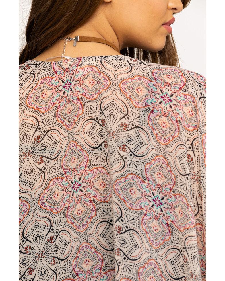Mystree Women's Blush Floral Border Tassel Kimono, Blush, hi-res